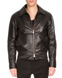 Berluti Zip Front Leather Jacket W Embroidered Back Black