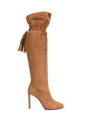 Roberto Cavalli Elasticated Fringed Detailing Boots Brown