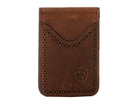 Ariat Shield Perforated Edge Money Clip Medium Distressed Brown Wallet Handbags