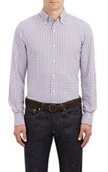 Finamore Gingham Twill Shirt Purple Size Extra Large