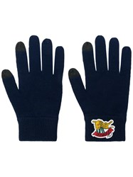 Kenzo Logo Embroidered Gloves Blue
