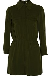 Alice Olivia Meera Stretch Silk Romper Green