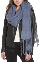 Free People Jaden Rib Knit Blanket Scarf Blue