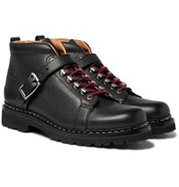 Heschung Richmond Pebble Grain Leather Hiking Boots Black