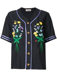 Muveil Button Embroidered Shirt Black