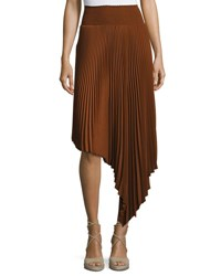 A.L.C. Sofia Asymmetric Pleated Midi Skirt Chocolate