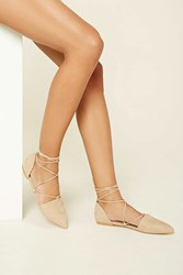 Forever 21 Faux Suede Lace Up Flats