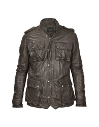 Forzieri Brown Washed Leather Car Coat W Quilted Lining