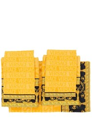 Versace Barocco And Robe Set Of 5 Cotton Towels Gold