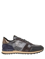 Valentino Rockstud Butterfly And Leather Sneakers