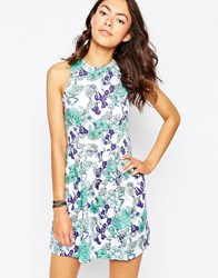 Motel Girly Dress In Floral Print Floral Blue White