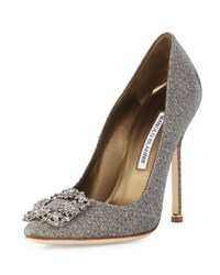 Manolo Blahnik Hangisi Crystal Buckle Fabric Pump Gold Women's