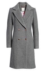 Ted Baker London Chevron Wool And Cashmere Coat Grey
