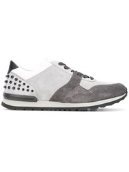 Tod's Studded Lace Up Sneakers Grey