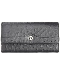 Giani Bernini Ostrich Embossed Receipt Wallet Created For Macy's Black