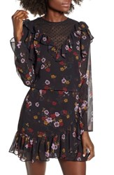 The Fifth Label Keystone Floral Ruffle Top Black Floral