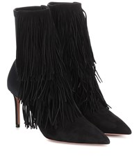 Aquazzura Shake Stretch 85 Suede Ankle Boots Black