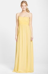 Women's Donna Morgan 'Stephanie' Strapless Ruched Chiffon Gown Lemon