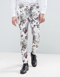 Asos Wedding Super Skinny Suit Pant In Cream Floral Print Cream