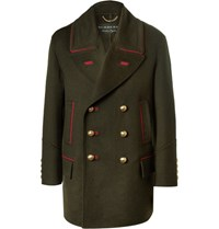 Burberry Oversized Double Breasted Cashmere And Wool Blend Coat Army Green