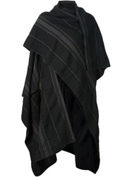 Isabel Benenato Striped Oversized Cape Black