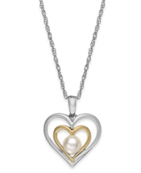 Macy's Cultured Freshwater Pearl Heart Pendant Necklace In 14K Gold And Sterling Silver 5Mm