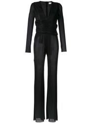 Galvan Pleated Deep V Neck Jumpsuit Black