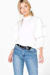 Boohoo Tiered Sleeve High Neck Blouse White