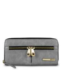Kenneth Cole Reaction Wooster Street Pvc Zip Around Clutch Cool Grey