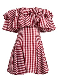 House Of Holland Off The Shoulder Gingham Dress Red White