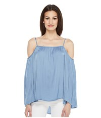 Vince Camuto Long Sleeve Cold Shoulder Rumple Blouse Stormy Blue Women's Blouse