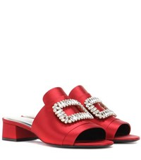 Roger Vivier Slipper New Strass Crystal Embellished Satin Sandals Red