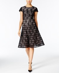 Alfani Striped Lace Fit And Flare Dress Only At Macy's Deep Black