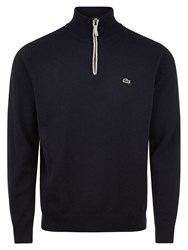Lacoste Marl Knit Sweater With Zip Collar Navy Slub