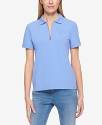 Tommy Hilfiger Zip Up Polo Top Only At Macy's Perwinkle