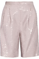 Tibi Sequined Crepe Shorts Pastel Pink