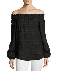 Michael Michael Kors Smocked Off The Shoulder Top Black
