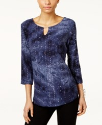 Jm Collection Tie Dyed Embellished Tunic Only At Macy's Intrepid Blue