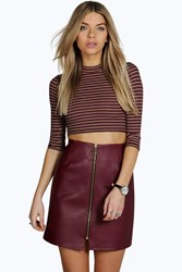 Boohoo Zip Front Leather Look Mini Skirt Berry