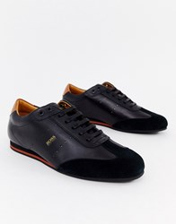 Boss Lighter Lowp Suede Leather Mix Trainers In Black