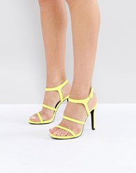 New Look Neon Strappy Heeled Sandal Bright Yellow
