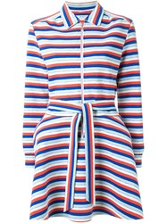 Julien David Striped Belted Coat Multicolour