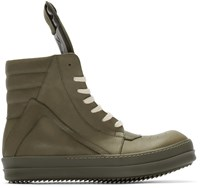 Rick Owens Green Geobasket High Top Sneakers
