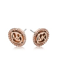 Michael Kors Heritage Pvd Rose Goldtone Stainless Heart Earrings W Crystals Pink