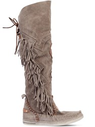 El Vaquero 20Mm Dakota Fringed Suede Boots Grey
