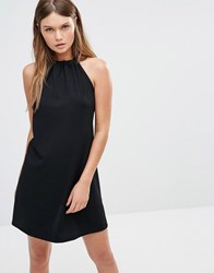 Fashion Union Rib Halter Neck Dress With Tie Up Back Black