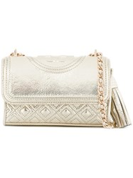 Tory Burch Small 'Fleming' Crossbody Bag Metallic