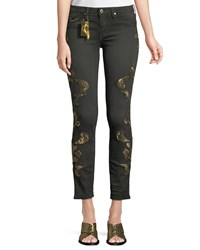 Robin's Jeans Gothic Metallic Embroidered Skinny Black