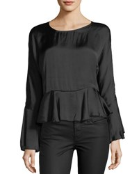 Romeo And Juliet Couture Satin Bell Sleeve Self Tie Peplum Top Black