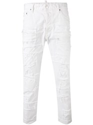 Dsquared2 Distressed Trousers White